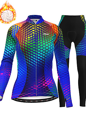 cheap Women's Cycling Jersey & Shorts / Pants Sets-21Grams Women's Long Sleeve Cycling Jersey with Tights Winter Fleece Polyester Blue Bike Clothing Suit Thermal Warm Fleece Lining 3D Pad Warm Quick Dry Sports Graphic Mountain Bike MTB Road Bike
