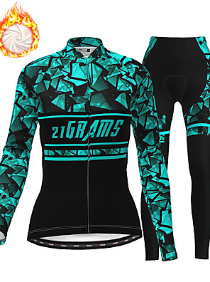 cheap Women's Cycling Jersey & Shorts / Pants Sets-21Grams Women's Long Sleeve Cycling Jersey with Tights Winter Fleece Polyester White Purple Blue Bike Clothing Suit Thermal Warm Fleece Lining 3D Pad Warm Quick Dry Sports Graphic Mountain Bike MTB