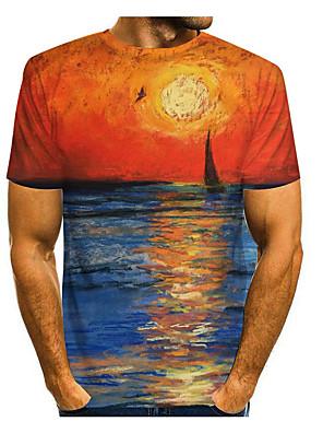 billige Herretopper-Herre T skjorte 3D-utskrift Grafisk 3D Trykt mønster Kortermet Avslappet Topper Enkel Klassisk Blå Lilla Gul