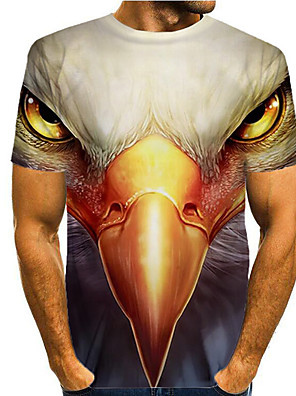 cheap Men's Tops-Men's T shirt 3D Print Graphic Eagle Animal Print Short Sleeve Daily Tops Basic Casual White