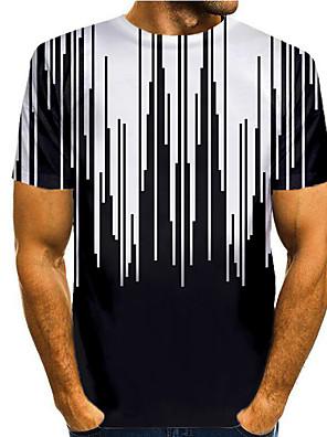 billige Herretopper-Herre T skjorte 3D-utskrift Grafisk 3D Trykt mønster Kortermet Avslappet Topper Enkel Klassisk Svart / Hvit