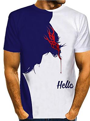 cheap Men's Tops-Men's T shirt 3D Print Graphic 3D Print Short Sleeve Casual Tops Simple Classic Blue / White