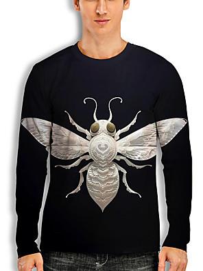 billige Herretopper-Herre T skjorte 3D-utskrift Grafisk 3D Dyr Trykt mønster Langermet Avslappet Topper Tegneserie Klassisk Svart