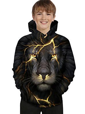 billiga Pojkkläder-Barn Småbarn Pojkar Huvtröja och sweatshirt Långärmad Lejon Färgblock Geometrisk 3D Tryck Barn Blast Aktiv Grundläggande Svart