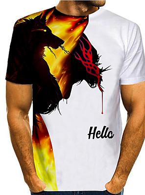cheap Men's Tops-Men's T shirt 3D Print Graphic 3D Animal Print Short Sleeve Casual Tops Simple Classic White