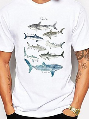 cheap Men's Tops-Men's T shirt 3D Print Graphic Fish Animal Print Short Sleeve Daily Tops Casual Cute White