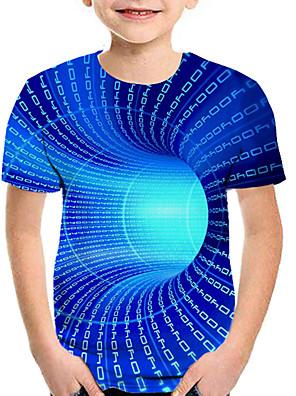 cheap Boys' Clothing-Kids Boys' Active Street chic Geometric 3D Patchwork Print Short Sleeve Tee Rainbow