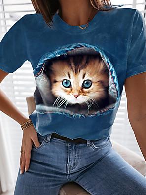economico Maglie donna-Per donna maglietta Gatto Pop art 3D Con stampe Rotonda Top Essenziale Top basic Blu