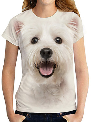 economico Maglie donna-Per donna maglietta Con cagnolino Pop art 3D Con stampe Rotonda Top Essenziale Top basic Bianco