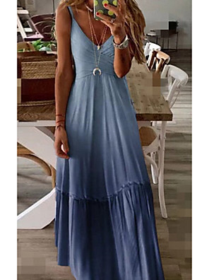 Chanyuhui Maxi Dresses for Women Casual Summer V Neck Spaghetti Strap Dress Plus Size Loose Backless Big Swing Dress