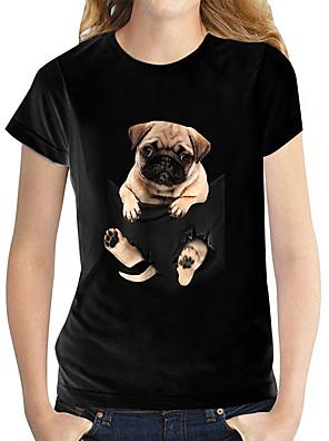 economico Maglie donna-Per donna maglietta Con cagnolino Pop art 3D Con stampe Rotonda Top 100% cotone Essenziale Top basic Bianco Nero