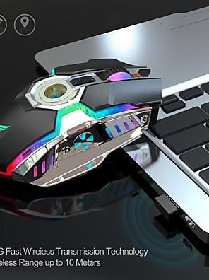 tanie -mysz do gier ładowalna mysz bezprzewodowa cicha 2400 dpi ergonomiczna 7 klawiszy rgb podświetlany diodami led 2.4g usb optyczny do laptopa