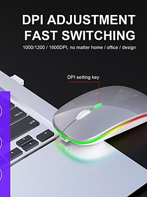 tanie -przenośna ultracienka wyciszona mysz bezprzewodowa 2.4 ghz ładowalna 1600 dpi regulowana mysz optyczna do laptopa pc office;