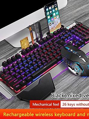 tanie -K680 bezprzewodowa klawiatura do gier i podświetlenie myszy metalowy panel ładowalna mysz dla graczy z podświetleniem rgb wodoodporna klawiatura zestaw;