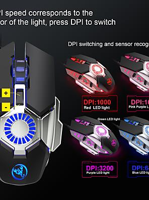 tanie -LAYPOO J700 Przewodowy USB Myszka gamingowa / Ergonomiczna mysz Oddychająca lampa LED 1000/1600/3200/6400 dpi 4 regulowane poziomy czułości 6 pcs Klawiatura 6 programowalnych klawiszy