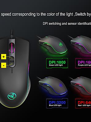 tanie -LITBest A867RGB Przewodowy USB Myszka gamingowa / Ergonomiczna mysz Światło RGB 6400 dpi 4 regulowane poziomy czułości 7 pcs Klawiatura 7 programowalnych klawiszy