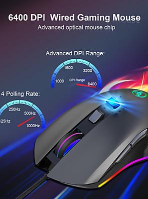 tanie -LITBest A866RGB Przewodowy USB Myszka gamingowa / Ergonomiczna mysz Światło RGB 6400 dpi 4 regulowane poziomy czułości 7 pcs Klawiatura