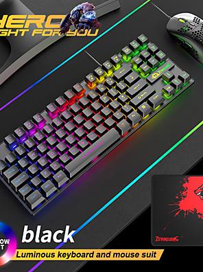 tanie -Bezpłatny wilk t2 świecąca klawiatura i mysz zestaw konsola komputerowa gry mechaniczne odczucie 88 klawiszy angielski zestaw klawiatury i myszy;
