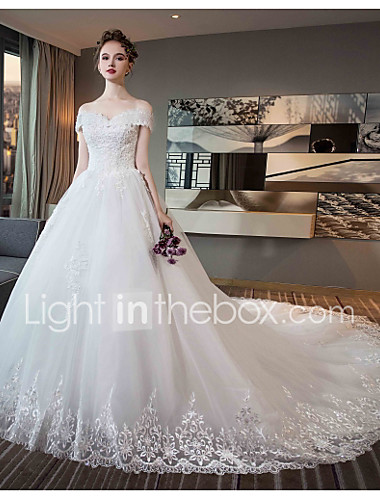 Ball Gown Off Shoulder Chapel Train Tulle Lace Over Satin Short