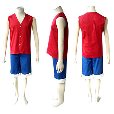top fashion meet detailed pictures [$34.99] Inspired by One Piece Monkey D. Luffy Anime Cosplay Costumes  Japanese Cosplay Suits Patchwork Sleeveless Vest / Shorts For Men's
