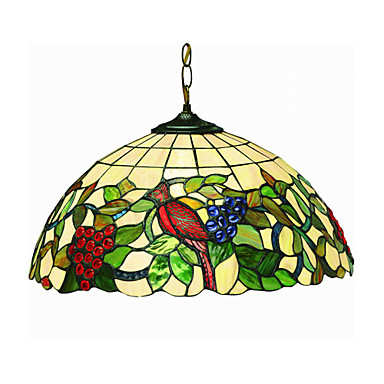 Tiffany style 2 light pendant light with grape and bird pattern 188258 2018 180 89
