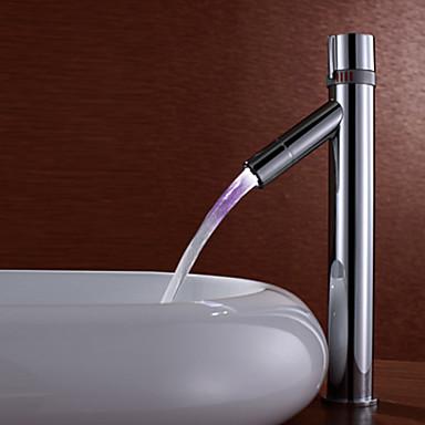 vandhane til badeværelse moderne farveskiftende førte badeværelse vask vandhane (høj  vandhane til badeværelse