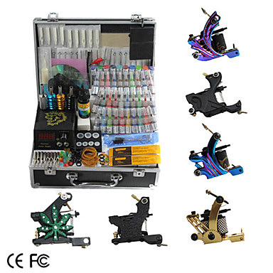 6 Cast Iron Tattoo Gun Kit with LCD Power Supply and 40 Ink 235857 ...