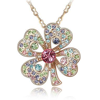 trébol de cristal en forma de collares de colores aleación de oro ...