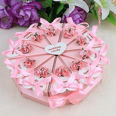 povoljno Kutijice za tortu-Krug Kvadrat Pyramid Kartica papira Naklonost Holder s Uzde Printing Cvijet Milost Kutije