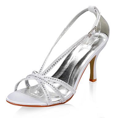 Satin Superioare Sandale Cu Toc Cu Stras Pantofi De Mireasa De Nunta