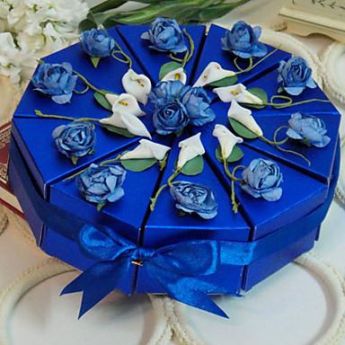 preiswerte Kuchenschachteln-Pyramide Kartonpapier Geschenke Halter mit Bänder Blume Geschenkboxen