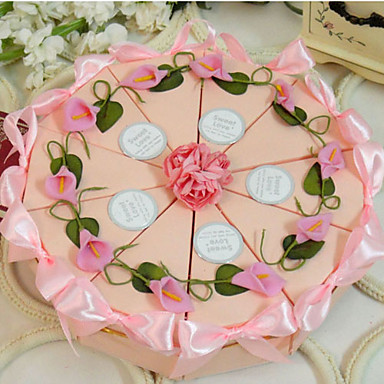 preiswerte Kuchenschachteln-Kreisförmig / Quadratisch Kartonpapier Geschenke Halter mit Bänder / Print / Blume Geschenkboxen