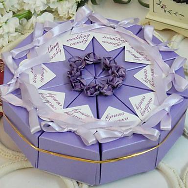 preiswerte Kuchenschachteln-Pyramide Perlenpapier Geschenke Halter mit Bänder Blume Geschenkboxen
