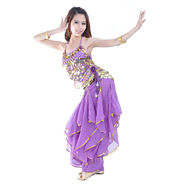 povoljno Odjeća i obuća za ples-Trbušni ples Outfits Žene Seksi blagdanski kostimi Šifon Perlica / Kovanice Bez rukávů Prirodno
