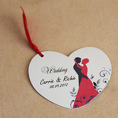Personalized Heart Shaped Wedding Invitation With Red Ribbon- Set Of ...
