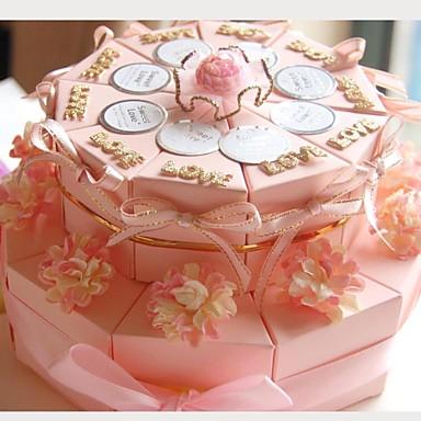 preiswerte Kuchenschachteln-Kreisförmig / Quadratisch Kartonpapier Geschenke Halter mit Bänder / Print / Blume Geschenkboxen - 20