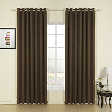 Two panels curtain modern solid living room linen material - Modern curtain panels for living room ...