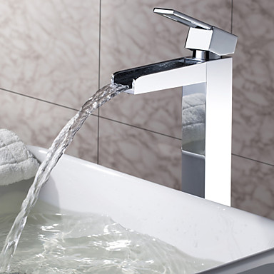 Sprinkle® by Lightinthebox - Solid Brass Waterfall Bathroom Sink Faucet Chrome Finish(Tall) 373137 2018 – $126.22