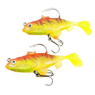 [$6 23] 2 pcs Fishing Lures Soft Bait Soft Plastic Lead Sea Fishing  Freshwater Fishing Bass Fishing