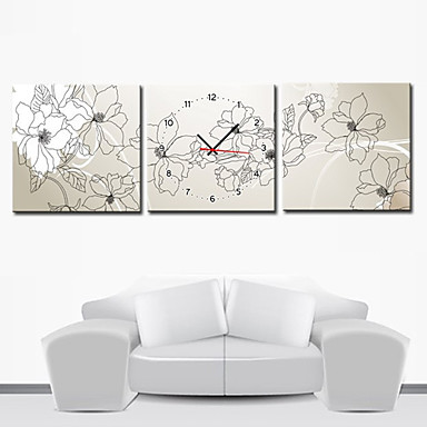 12 24 Moderno Orologio Da Parete Stile Floreale In Canvas 3pcs