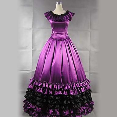 a52392ae54f7 αμάνικο πάτωμα-μήκους μωβ σατέν βολάν πριγκίπισσα Lolita φόρεμα 477796 2019  –  117.29