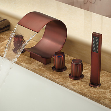 Oil Rubbed Bronze Waterfall Widespread Bathtub Faucet With Hand Shower Curved Shape Design