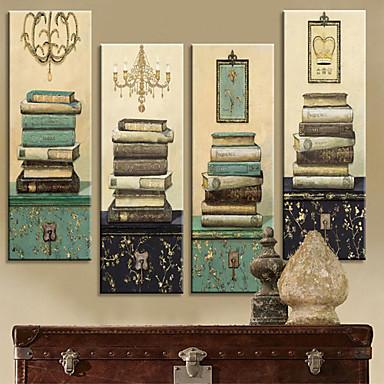 Stretched canvas print vintage still life books set of 4 1301 0214 496617 2018 40 49