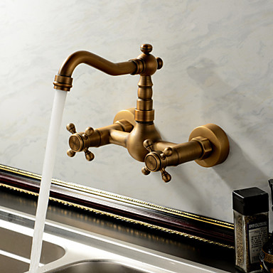 Sprinkle® Kitchen Faucets , Antique / Traditional With Antique Brass Two  Handles Two Holes , Feature For Waterfall 237077 2017 U2013 $59.99