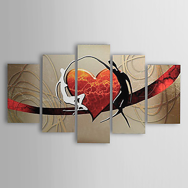 povoljno Ulja na platnu-ručno oslikana ulja na platnu moderni apstraktni ljubitelji srca platno pet panela spremni objesiti