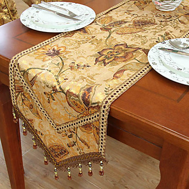 Marvelous Traditional Print Gold Floral Polyester Table Runners 524889 2017 U2013 $26.24