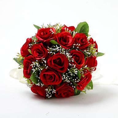 wedding flowers bouquets wedding satin cotton 984 - Red Garden Rose Bouquet
