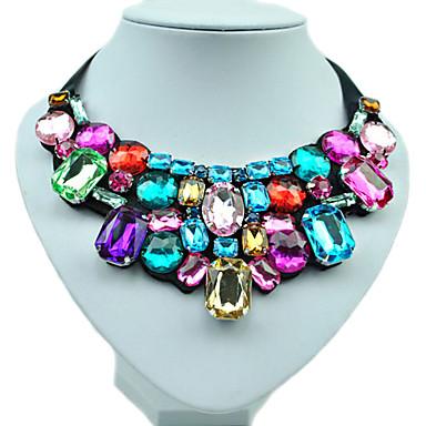povoljno Modne ogrlice-Žene Sintetički dijamant Izjava Ogrlice Bib ogrlice Emerald Cut Duga dame Moda Šarene Boja Smola Umjetno drago kamenje Imitacija dijamanta Ogrlice Jewelry Za Vjenčanje Party Dnevno