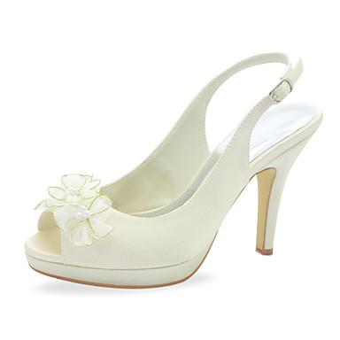 b737c356912 Krásná saténová stiletto pata peep toe s imitací perel   květiny svatební  boty (více barev) 559331 2019 –  49.99