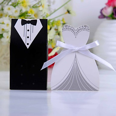 voordelige Bruiloftsbedankjes-Creatief Kaart Papier Bedankjeshouder met Linten Bedank Doosjes